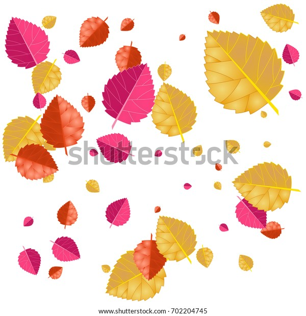 Autumn colors confetti background with scattered leaves. Vector illustration for print, textile, paper