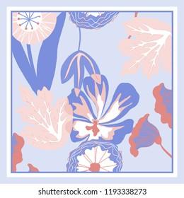 Autumn colors retro floral print. Silk scarf vector graphics.
