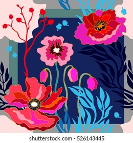 Autumn colors. Silk scarf with blooming poppies. Abstract seamless vector pattern with hand drawn floral elements. 1950s-1960s motifs. Retro textile design collection. Red, blue, pink on dark blue.