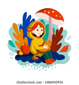 Autumn comes - smiling little girl with red hair, season character. The child in raincoat sits on a rainy cloud under fly agaric mushroom, with cat in arms, with harvest, leaves. Vector illustration.