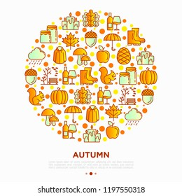 Autumn concept in circle with thin line icons: maple, mushrooms, oak leaves, apple, pumpkin, umbrella, rain, candles, acorn, rubber boots, raincoat, squirrel. Vector illustration, print media template