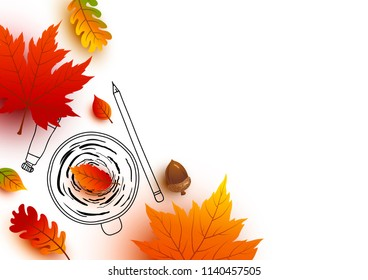 Autumn concept of coffee cup sketch and leaves fall on white background vector illustration