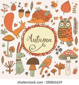 Autumn concept forest card with lovely wild animals : rabbit, hedgehog, squirrel, owl and birds. Stylish background with birds and animals in mushrooms, leafs and insects in orange colors