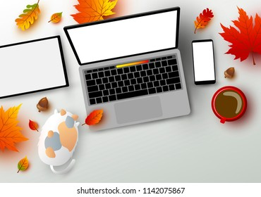 Autumn concept of workspace laptop computer digital tablet and smartphone mockup with leaves fall on the table vector illustration