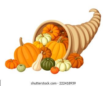 Autumn cornucopia (horn of plenty) with pumpkins. Vector illustration.