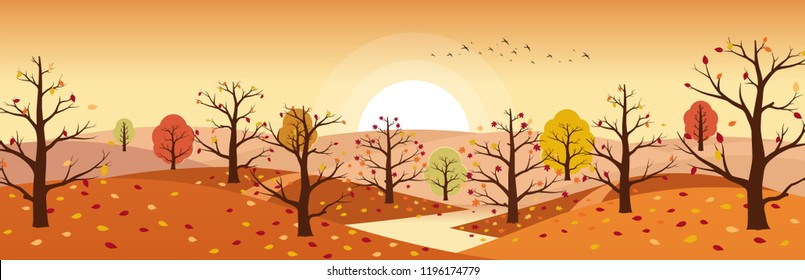 Autumn countryside landscape with river. Landscapes of mountains with trees and falling yellow, red foliage. Horizontal panoramic autumn landscape.