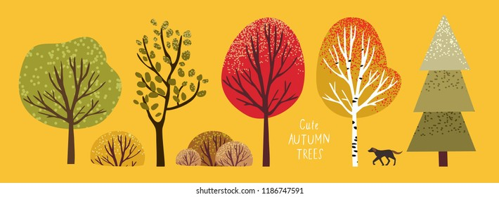 autumn cute trees, set of vector illustrations of cute trees and shrubs: oak, birch, aspen, linden, fir, sun and dog