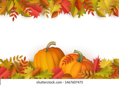 Autumn decorative border with colorful tree leaves and ripe orange pumpkins isolated on white background - seasonal fall frame for greeting or promotion in cartoon vector illustration.