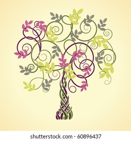 autumn decorative Celtic tree with colored leaves