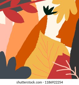 Autumn design with abstract shapes and leaves in orange, yellow, pink, red and brown on light yellow background. Wall art, greeting card, social media post, packaging design.