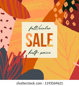 Autumn design with abstract shapes and leaves in orange, yellow, pink, red and brown and square sticker with text Sale.