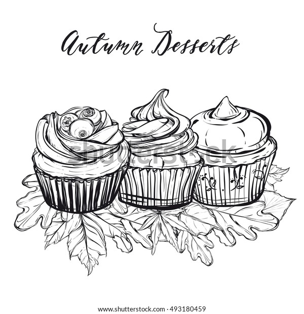 Autumn desserts, cupcakes, leaves,handmade,card for you,retro,Coloring book page design for kids and adults,vector illustration