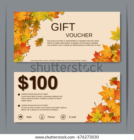 Autumn Discount Coupon Gift Voucher Vector Stock Vector Royalty