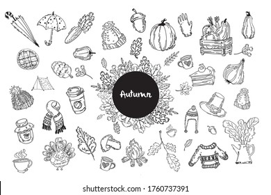 Autumn doodle  big set, vector isolated hand drawn elements. Traditional symbols: fallen leave, rain boots, umbrellas, mushrooms, fall harvest.