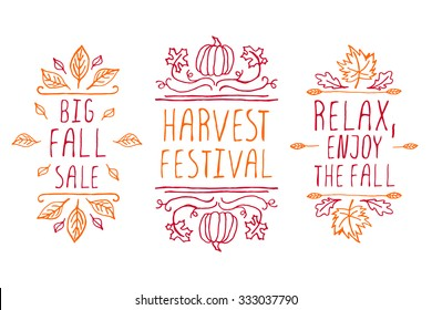 Autumn elements. Hand-sketched typographic elements on white background. Big fall sale. Harvest festival. Relax, enjoy the fall