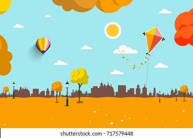 Autumn Empty City Park. Vector Flat Design Landscape Background.