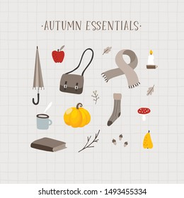 Autumn essentials. Set of cute hand drawn fall food, drink, fashion and lifestyle icons with coffee, leaves, fruit, stationery and pumpkin. Thanksgiving design. Isolated vector objects, flat design.
