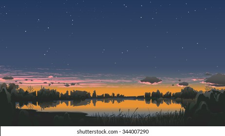 Autumn evening scenery with sunset and stars.