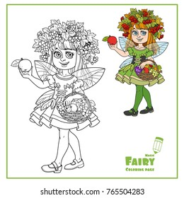 Autumn fairy girl in a wreath of viburnum and a basket of fruit in her hands color and outlined isolated on a white background