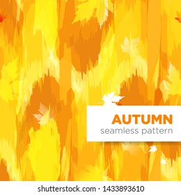 Autumn fall bright seamless pattern with splash and maple eaves
