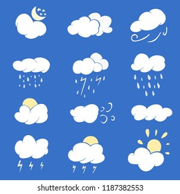 Autumn, fall clouds, vector set, 12 element, flat style, symbol of forecast weather: sunny, rain, windy, cloudy, storm, objects on the blue background, isolated element of weather