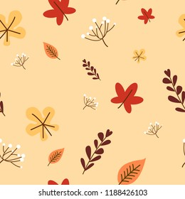 autumn fall cute dandelion flower and falling maple leafs on orange background eps10 vector seamless pattern all elements