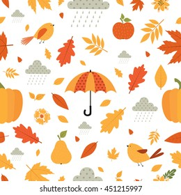 Autumn. Fall. Cute vector seamless pattern. All elements are  hidden under mask. Pattern are not cropped and can be edited.