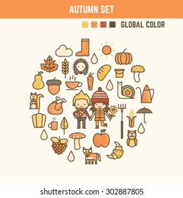 autumn and fall infographic elements including characters and icons