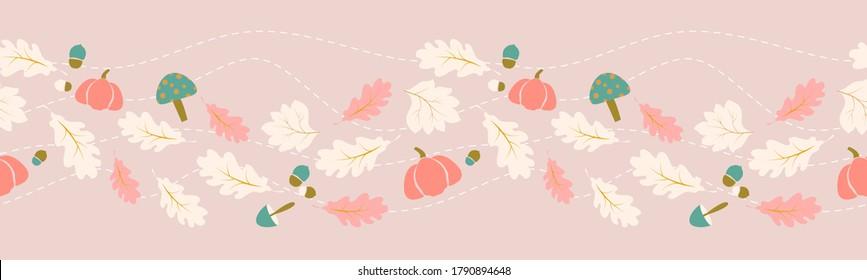 Autumn, fall leaves border seamless pattern concept design for seasonal, thanksgiving, halloween