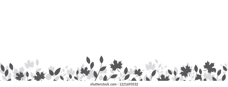 Autumn Fall Leaves Border Vector Illustration
