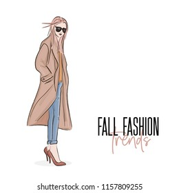 Autumn fall outfit sketch. Hlamour stylish ideas. Must-have look: coat, jeans, sweater and high heels. Glamour clothing apparel. Inspirational casual style