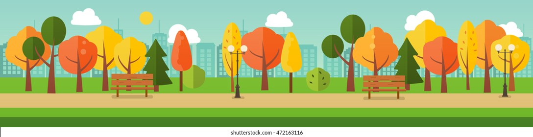 Autumn or fall park panorama with yellow and orange trees, benches, path, city silhouette, vector banner