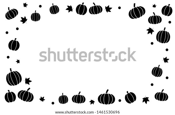Autumn Fall Pumpkins Border Frame Solid Stock Vector (Royalty Free ...