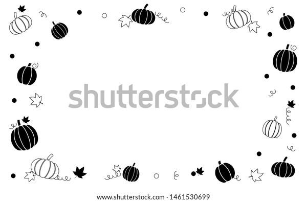 Autumn Fall Pumpkins Border Frame Black Stock Vector (Royalty Free ...