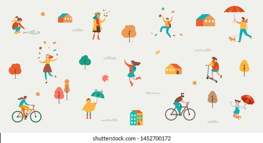 Autumn, fall scene with various cute people, families and children having fun, playing with autumn leaves and jumping with an umbrellas. Crowd of tiny men, children and women under rain.