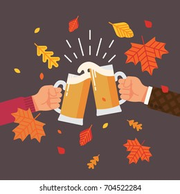 Autumn or fall season beer festival concept illustration with autumn leaves, beer colliding and spilling out with foam. Vector flat design illustration on hands holding beer cheering and celebrating