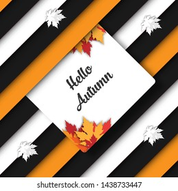 Autumn fall striped banner with black and white stripes and maple leaves