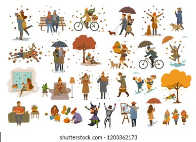 autumn fall thanksgiving halloween people outdoor home cartoon vector illustration scene set, man woman couples children walk with umbrellas, dogs, spend time in the park, ride bikes, read book, paint