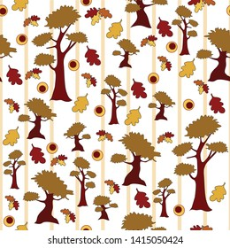 autumn fall trees seamless background with stripes circles leaves orange gold brown vector beige seasons