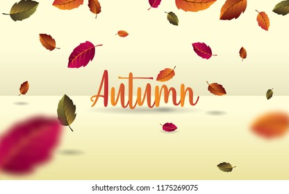 Autumn falling leaves. autumnal foliage fall with blured leaves. vector illustration.