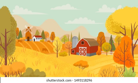 Autumn farming landscape. Country farm, yellow trees and farmhouse field. Autumnal rural village countryside nature cartoon vector background illustration