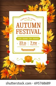 Autumn festival. Fall party invitation. Autumn party vector poster template.