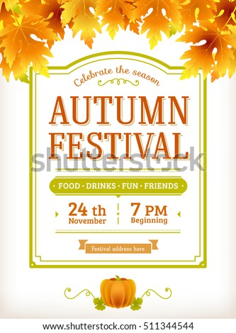 Autumn Festival Invitation Fall Party Template Thanksgiving Day