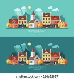 Autumn - flat design urban landscape illustration