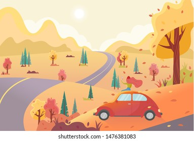 Autumn flat vector background with hills, forest and fallling leaves. Young woman admires nature and photographs a beautiful autumn landscape. Car trip conceprt.