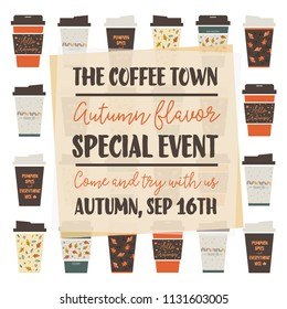 Autumn flavour coffee set vector illustration