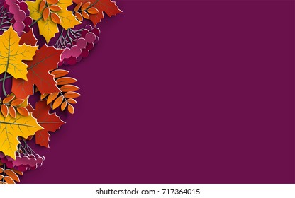 Autumn floral background with colorful tree leaves on yellow background, design elements for fall season banner, poster, flyer or thanksgiving greeting card, 3d effect imitation, vector illustration