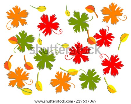 Autumn Floral Background With Leaf Fall Red Orange And Green Vector Silhouette