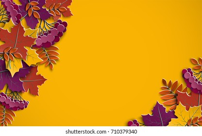 Autumn floral paper background with tree leaves on yellow background, space for text, design elements for fall season banner, poster or thanksgiving greeting card, paper cut style, vector illustration