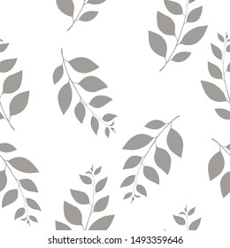 Autumn floral seamless pattern with sprigs on white background. Trend color illustration with branches. Template design for invitation, poster, card. Holiday card or congratulation.